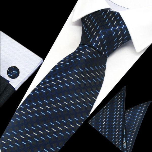 100% De Calidad Mens Azul Marino Blanco Corbata Seda De Trabajo Patrón Pañuelo Pañuelo Gemelos Conjunto De Regalo-ver Aliviar El Reumatismo