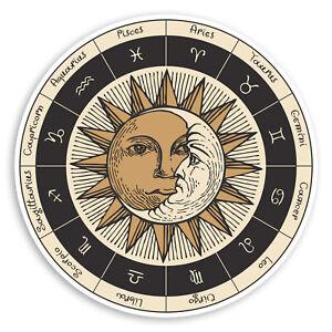 2 x 10cm Zodiac Signs Sun Moon Vinyl Stickers - Laptop Luggage Sticker #34330