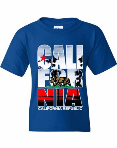 Cali For Nia Palm Youth T-shirt California Republic Bear West Coast Gift for kid