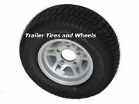 205/65-10 Lrb 4 Pr Bias Tire On 10 5 Lug Fps Aluminum Trailer Wheel 20.5x8.0-10