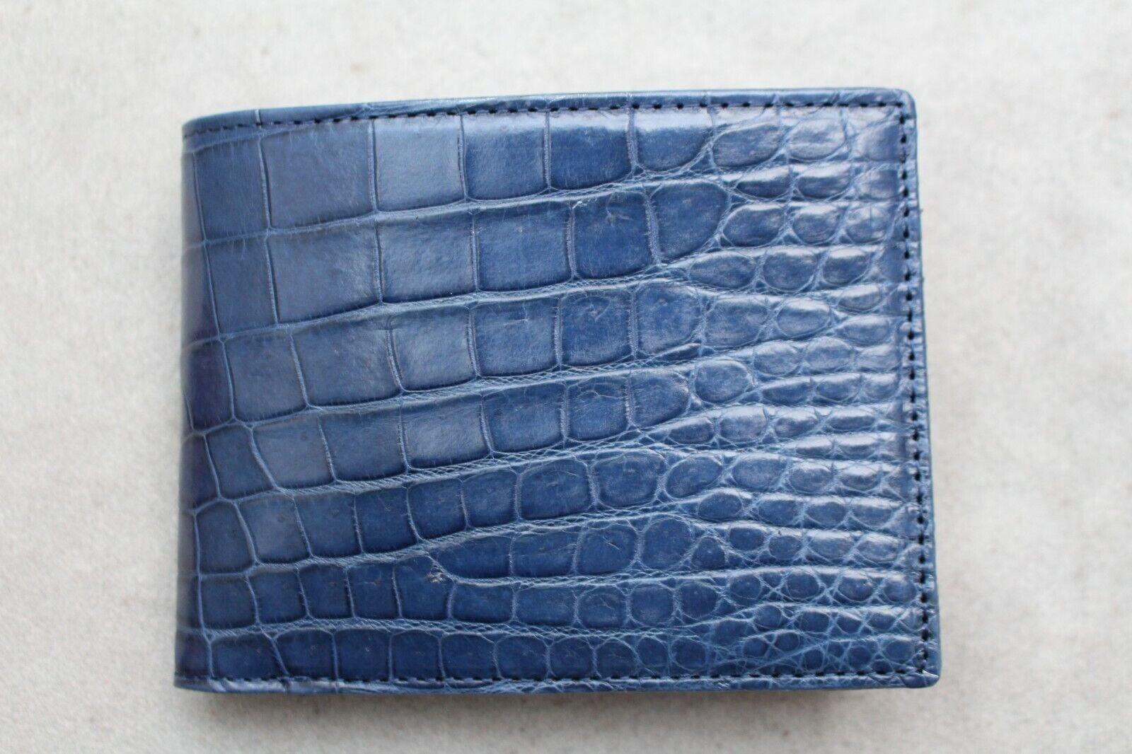 Blue Genuine Crocodile ,Alligator Belly Leather Skin MEN'S BIFOLD Wallet
