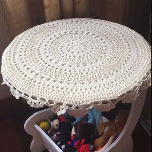 """4Pcs 100% Cotton White Hand Crochet Doilies Vintage Round Lace Table Topper 13"""""""