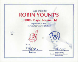 1992-BREWERS-Robin-Yount-3000-Hits-I-was-there-Certificate-original-Milwaukee