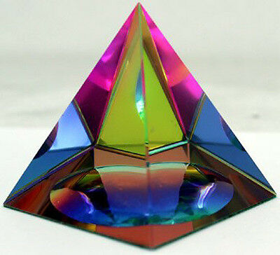 """Crystal Iridescent Pyramid - Rainbow Colors 3.5"""" with Gift Box"""