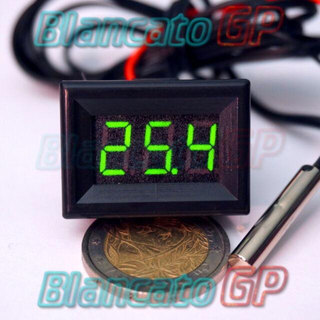 MINI TERMOMETRO DIGITALE da PANNELLO LED VERDE GIALLO -30 +70℃ NTC DC auto moto