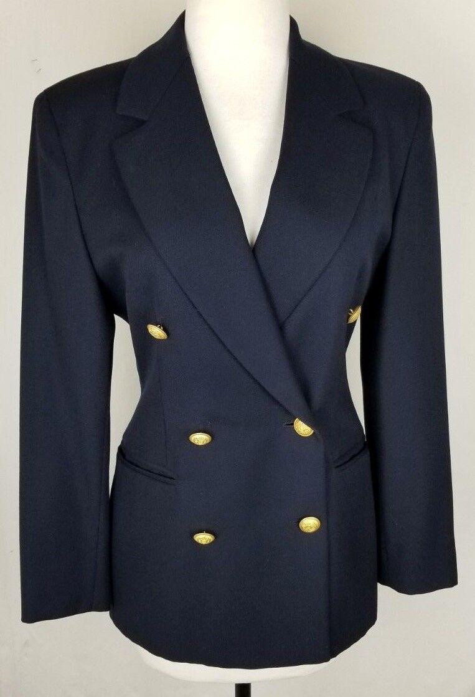 Femme Ritz Saddler Navy bleu or Boutons Laine Blazer veste made in  Sz 6