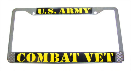 "Army Combat Veteran License Plate Tag Frame Chrome Metal /""Made in the USA/"""