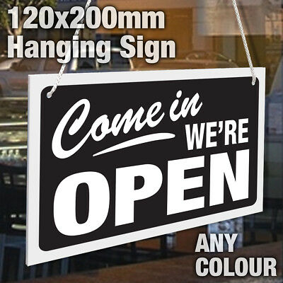 Reversible Shop Window Come in We/'re Open Sorry We/'re Closed Rigid Hanging Sign