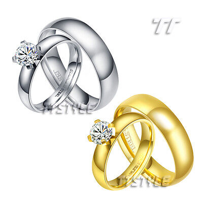 TTstyle Stainless Steel Engagement Wedding Band Ring For Couple Silver/Gold