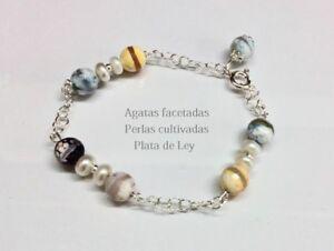 PULSERA-de-PLATA-de-ley-925-con-PERLAS-Cultivadas-y-AGATAS-Facetadas-Multicolor