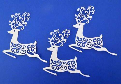 Christmas Reindeer Intricate Paper Die Cuts Scrapbook Embellishment Set of 3