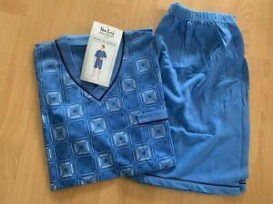 TOP Herren Schlafanzug Shorty Pyjama Gr. M bis 3XL hellblau gemustert NEU