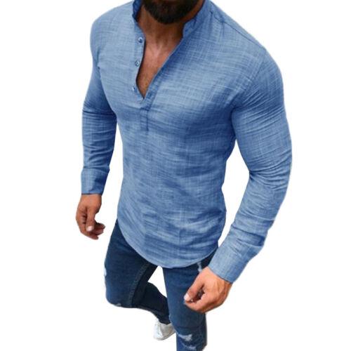 Mens Linen V Neck Slim Fit Henley T-shirt Tops Long Sleeve Casual Shirts Blouse