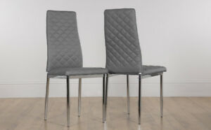 Image Is Loading 2 4 6 8 Renzo Grey Leather Dining