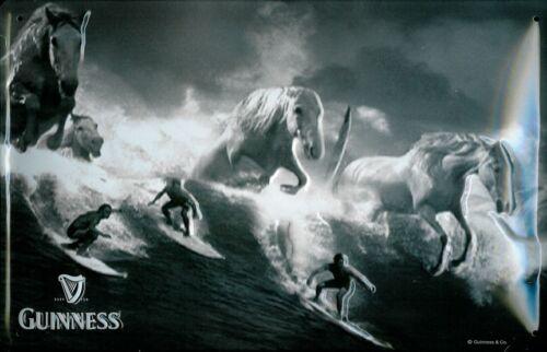 Guinness Surfista Tin Sign Shield 3D Em Relevo Em Arco Metal 7 7//8 x11 13//16in