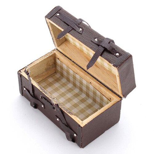 1:12 Doll house Miniature Vintage Leather Wood Suitcase Mini Luggage Box L2H2