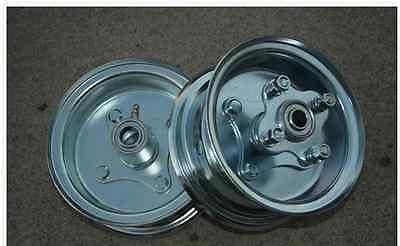 "Mini Bike GO KART (2) 5"" Split Rim Steel WheelS BEARINGS SPROCKET Hub Hardware"