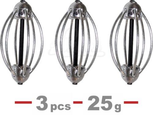 3pcs Carp Fishing Cask Feeder 25g//0.88oz Inline Coarse Bait Fishing Tackle