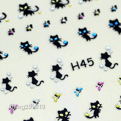 3D Nail Art Stickers Decals Nail Decoration Rhinestones Cat Butterfly Design H45