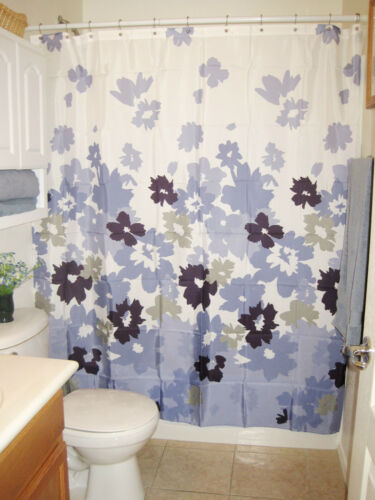 FABRIC Bloom Purple Apt White Floral  Print  SHOWER CURTAIN 9 Blue