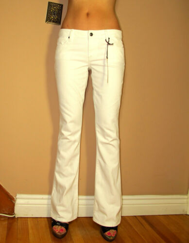 $195 Vince Optic White Flare Trousers Jeans Mid-Rise Stretch Made in USA 24