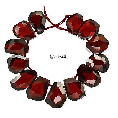 SALE 12 Cubic Zirconia Hand Cut Freeform Beads ap. 10x14mm Garnet Red #96110
