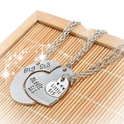 3pcs Big Middle Little Sisters Hearts Pendant Necklaces Family Love Charm Gift
