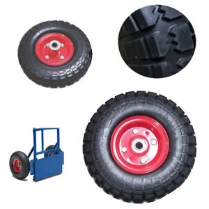 2X-10-034-Rubber-Tyre-Wheel-Replacement-No-More-Flats-Sack-Truck-Trolley-RED-DCUK