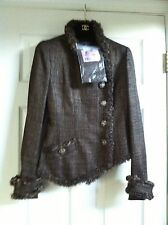 Chanel 09A NEW TAGS PARIS MOSCOW Tweed Woven Gold Brown Jacket Agneau furFR36$7K