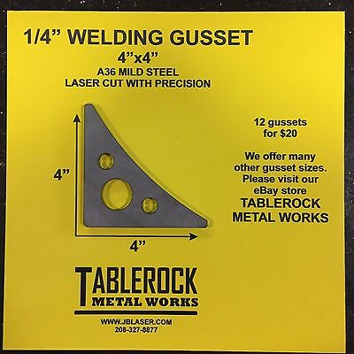 "1//4"" Laser Cut Steel Weld Gusset Size 3""x3"" 90 Degrees Angle Package Of 12"