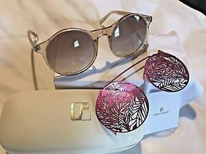 3e3e63602 LINDA FARROW Matthew Williamson Clip On Clear Hot Pink Sunglasses ...