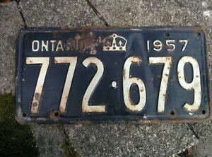 Vintage 1957 Ontario ON Canada Vehicle License Plate Black White ~ POOR 772 679