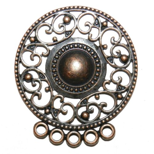 M366 Antiqued Copper 57mm Round Link with 5-Loops Metal Alloy Component 4pc