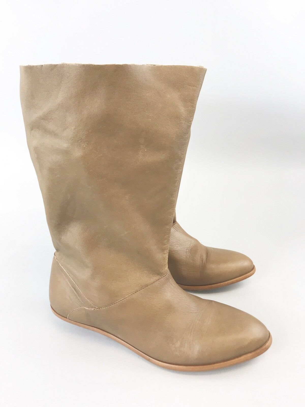Zara ladies brown soft leather ankles pull Ons winter boots size UK4 Eu37 Wide
