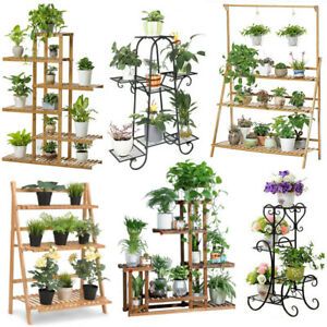 Details About Tiered Plant Stand A Frame Ladder Flower Pot Holder Tall Metal Rack Wheels Shelf