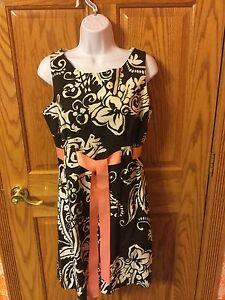 a427d0089783e R & K Originals Brown/Ivory Swirl Sleeveless Knee Length Dress. Size ...