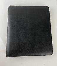 Franklin Covey 15 3 Ring Zip Up Black Leather Binder Folder