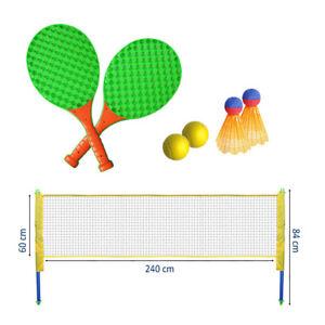 Raqueta-De-Tenis-Badminton-Set-Jardin-Familia-Juego-Divertido-Juego-Net-polos-Ninos-al-Aire-Libre