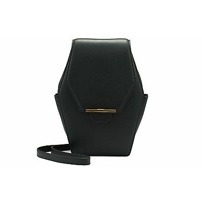 REVELRY | RUE DIAMOND leather shoulder bag BLACK
