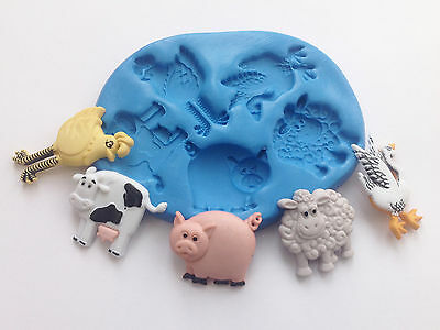 New Farm Animals,Cow, Sheep, Pig, Chicken Mix Silicone Mould