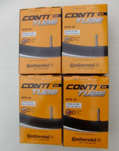 """4er Set CONTINENTAL Schläuche MTB26 26x1.75-2.5/"""" DV Blitzventil Dunlop Schlauch"""