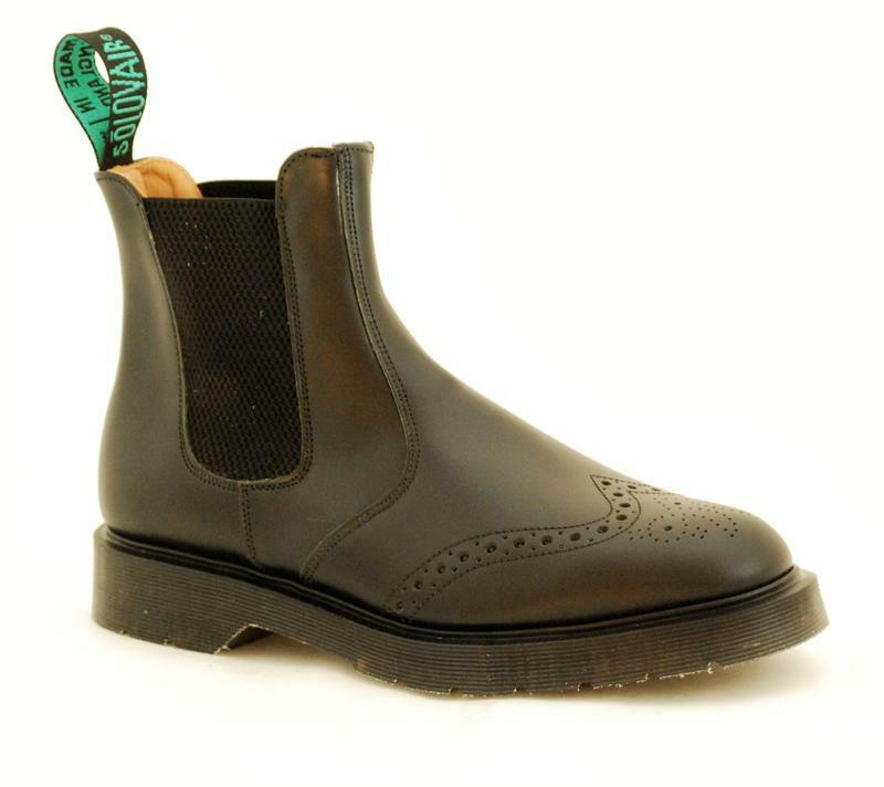 Solovair NPS Schuhes Made in England schwarz Chelsea Brogue Boot S086-0907BK03