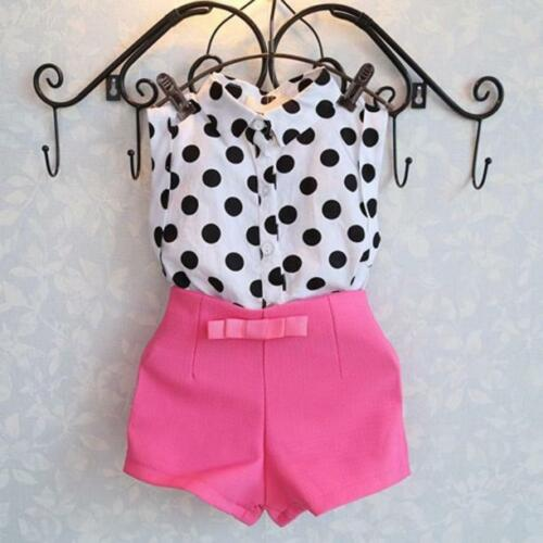2PCs Toddler Kid Baby Girls Sleeveless Knot Tops T Shirt Short pants Outfits Set