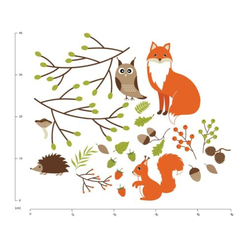 Woodland Animals Fox Owl Wall Sticker Set WS-44978