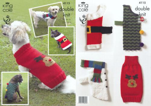Christmas Dog Coats Double Knitting DK Pattern Snowman Santa Rudolph Tree 4115