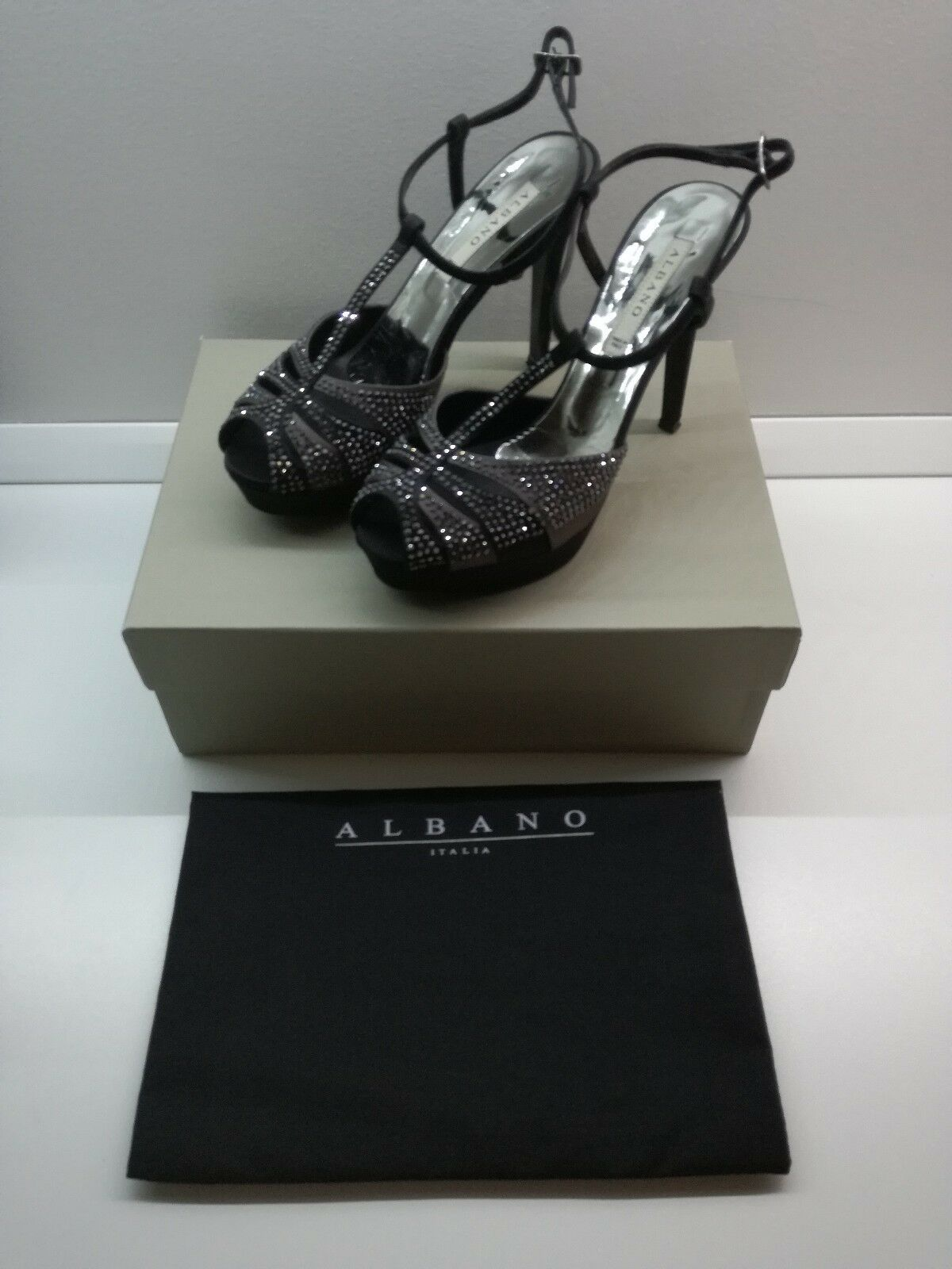 Sandolo Silk Black Hematite Swarovski Elements Albano Made in Italy Elegant Evening