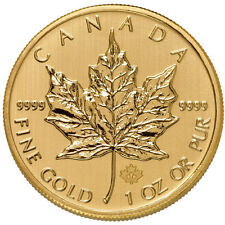 ON SALE! 1 oz Canadian Gold Maple Leaf Coin (.9999 Pure, Varied Year, BU)