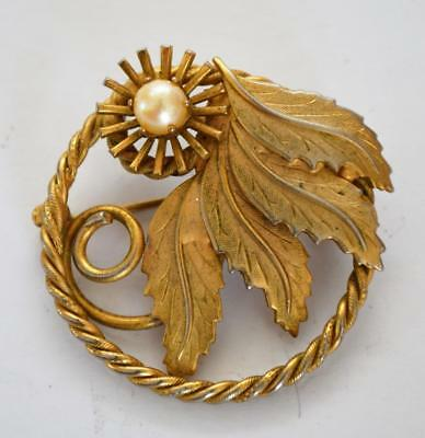 Fashion Jewelry Adroit Weinlese-gold-ton Kunstperle Blätter In Creole Form Anstecknadel Brosche Promoting Health And Curing Diseases