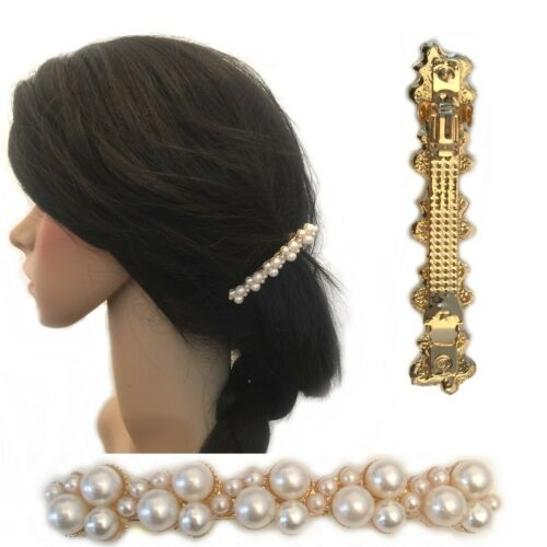 Ivory Pearl Clusters Gold Barrette Hair Clip Bridal Pin Head Pin Prom