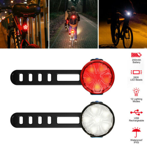 USB Rechargeable 6 LED Bicycle Bike Front Rear Light Headlight Taillight Lamp